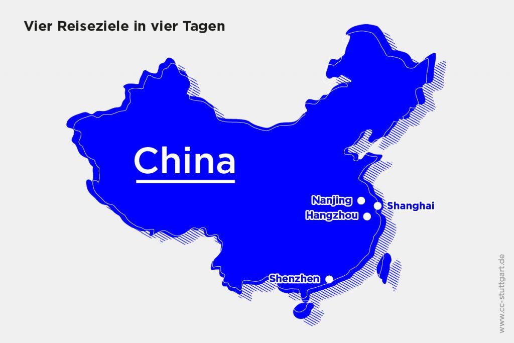 Die Wirtschaftsdelegation reiste vom Ankunftspunkt Nanjing aus durch den Südosten Chinas. Zuerst per Schnellzug nach Hangzhou und weiter nach Shanghai, dann mit dem Flugzeug nach Shenzhen. Zum Schluss ging es mit der Fähre nach Hongkong, wo der Rückflug startete.
