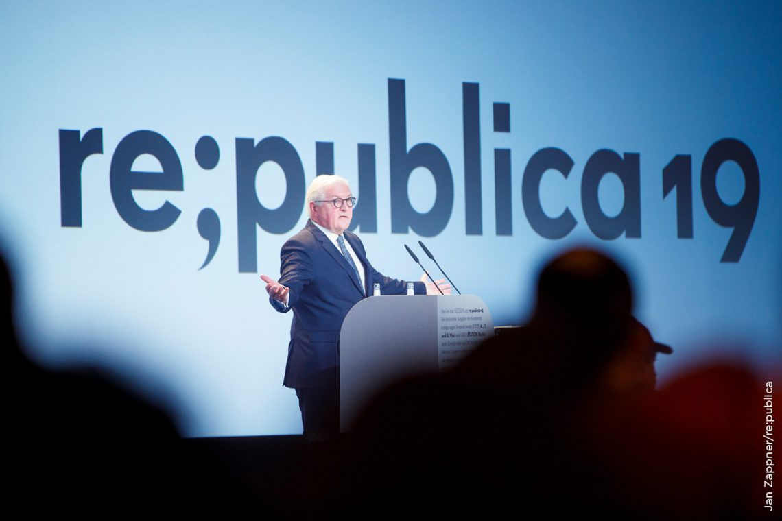 Bundespräsident Frank-Walter Steinmeier eröffnete die re:publica.