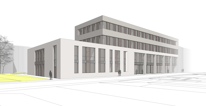 Die Bauarbeiten haben begonnen: In der Sigmaringer Straße errichtet WOLFF & MÜLLER den Neubau der Hochschule für Wirtschaft und Umwelt (HfWU) Nürtingen. Quelle: BFK Architekten