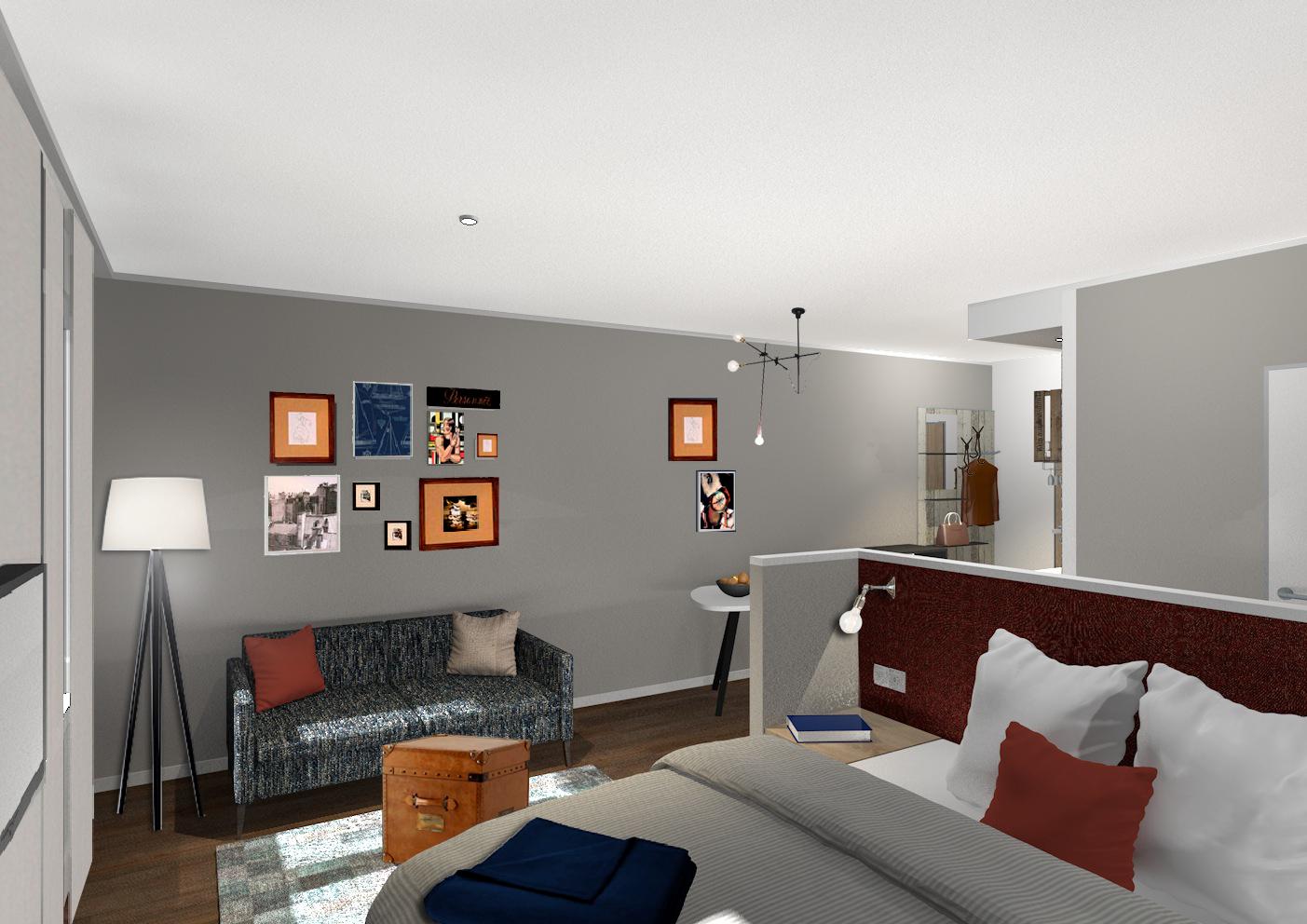 Ansicht Wohn- und Schlafbereich Mit eigener Klingel und Briefkasten bietet das Boardinghouse ein komfortables Zuhause auf Zeit mit persönlicher Wohnatmosphäre. Quelle: DQuadrat Living