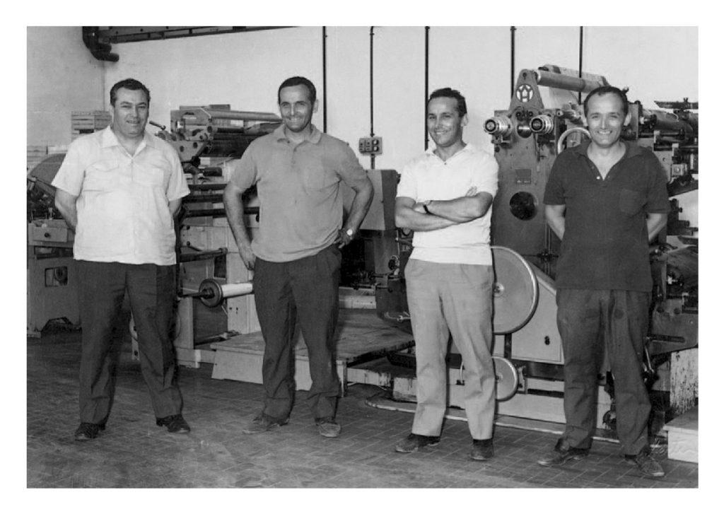 Die Brueder Panini Giuseppe, Umberto, Franco Cosimo und Benito Panini (v.l.n.r.) im Jahr 1966. Quelle: Panini