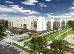 Am Karlsbader Platz in Wiesbaden entstehen 166 Wohnungen mit Tiefgarage und Verbrauchermarkt. Quelle: Hanseatic Group