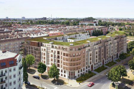 Nordisches Carré: Der moderne Häuserblock mit 194 Wohnungen und neun unterschiedlichen Fassaden schließt eine städtebauliche Lücke. Quelle: David Borck Immobiliengesellschaft mbH