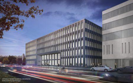 Der Erweiterungsbau der Konrad-Adenauer-Stiftung in Berlin nimmt die Gebäudestruktur und die Optik des Stammhauses auf. Quelle: CRAMER NEUMANN   Architekten, Bildbearbeitung: bloomimages