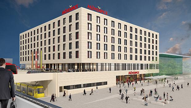 WOLFF & MÜLLER hat mit dem Bau des neuen Vier-Sterne-Kongresshotels am Stuttgarter Flughafen begonnen. Der Entwurf stammt von den Ulmer Architekten mühlich, fink & partner. Visualisierung: M55 Services Limited, München