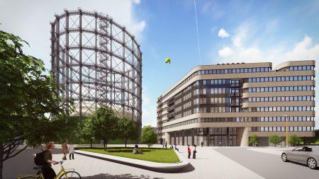 Der EUREF-Campus 21-22 in unmittelbarer Nähe zum historischen Berliner Gasometer ist das aktuellste Projekt auf dem EUREF-Campus. WOLFF & MÜLLER wird den energieeffizienten Neubau Mitte 2018 schlüsselfertig übergeben.  Bild: EUREF AG