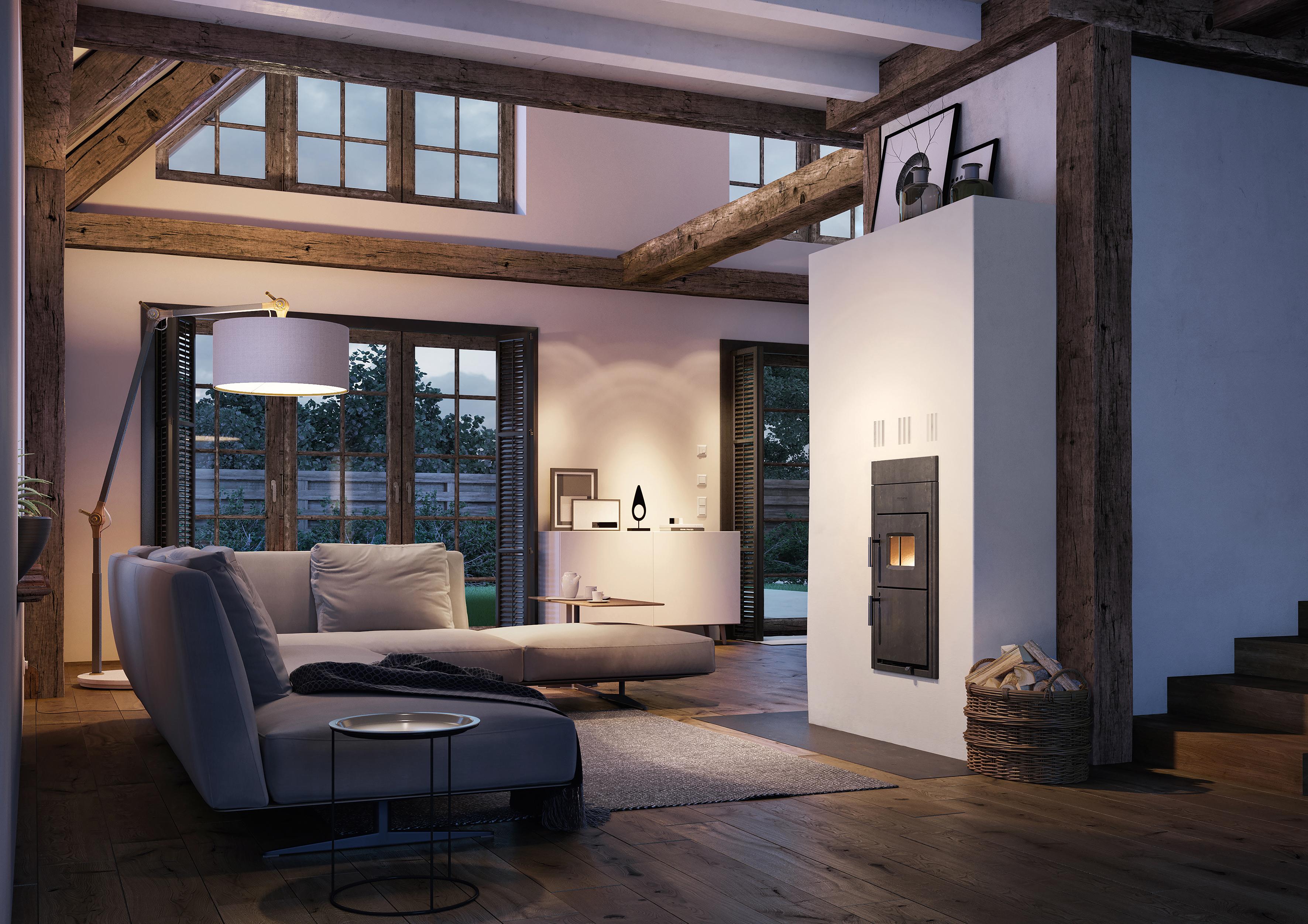 Moderne Technik in einem ansprechenden Wohnumfeld: Die neuen Buderus Festbrennstoff-Heizeinsätze Logaflame eignen sich sehr gut als Austauschgeräte in bestehenden Gebäuden.