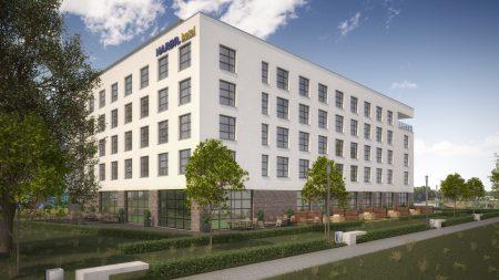 Das HARBR. hotel Heilbronn soll vor der Bundesgartenschau im Februar 2019 eröffnen. Es wird direkt an der neuen Neckarpromenade liegen. Quelle: DQuadrat Living GmbH