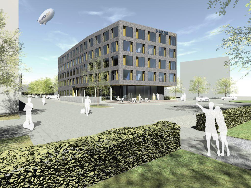 Bildunterschrift: Das HARBR. hotel Konstanz ist bereits im Bau und soll im September 2018 eröffnen. Es liegt in der Reichenaustraße, unweit des Seerheins. Quelle: DQuadrat Living GmbH