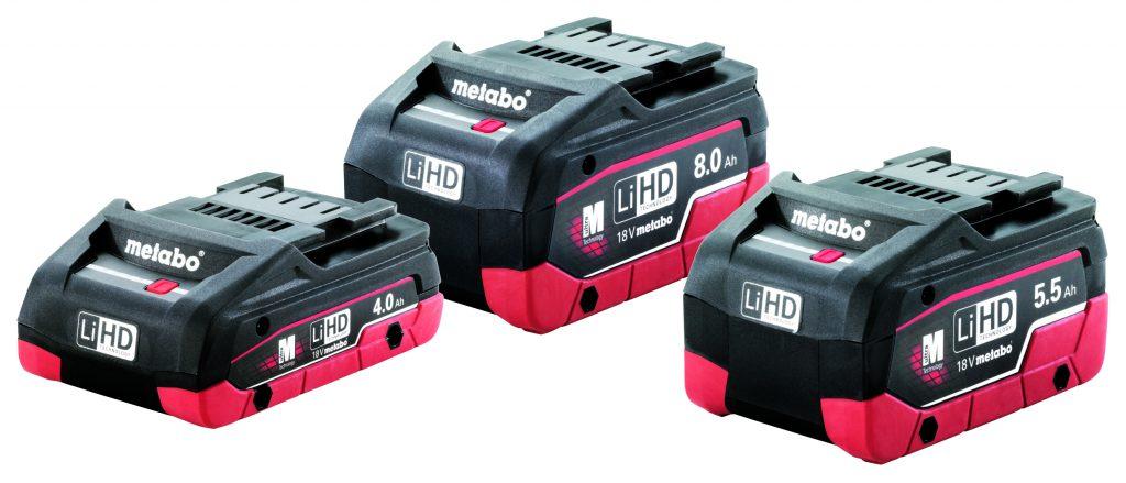 Für jede Anwendung der passende Akkupack: Anwender können ab Mai zwischen den Metabo LiHD-Akkupacks mit 8.0 Ah, 5.5 Ah und dem 4.0-Ah-Flatpack wählen. Volle LiHD-Power liefern alle drei. Foto: Metabo