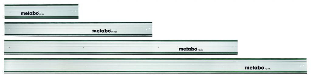 Vier gewinnt: Schreiner, Zimmerer, Trockenbauer und andere Handwerker finden bei Metabo für unterschiedliche Sägearbeiten die jeweils passende Führungsschiene. Neben dem Standardmaß von 160 Zentimetern kommen die Führungsschienen von Metabo in drei weiteren Längen auf den Markt. Foto: Metabo