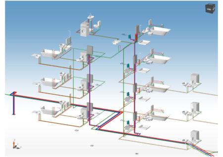 Die 3D-Ansicht zeigt eine hygienisch optimale Rohrführung.
