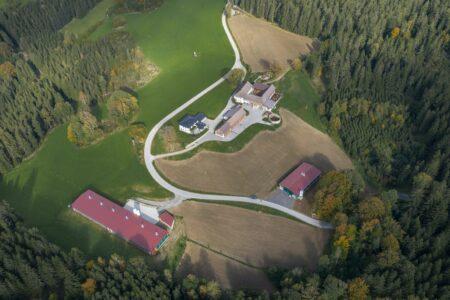 Luftaufnahme Bio-Hühner-Vormaststall