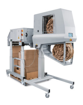 PAPERplus® Coiler² processes the paper pads that are pre-formed and turns them into robust coils of paper cushioning.