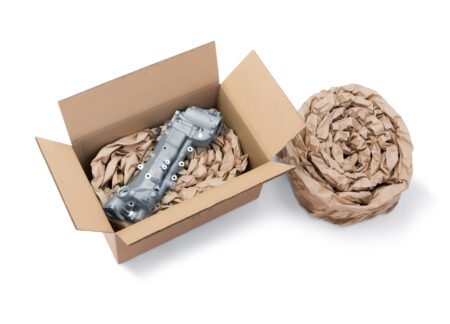 The robust coils of paper cushioning are ideal for protecting mechanical, electronic, pumps, valves, and gear parts
